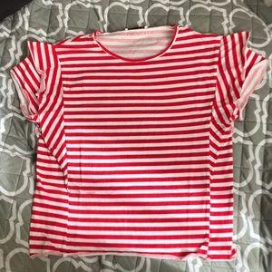 Zara Striped Top with Ruffle Shoulder